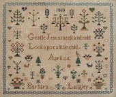 "Схема для вышивки Queenstown Sampler Designs ""Barbara Langley 1860"""
