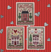 "Схема для вышивки Waxing Moon Designs ""Valentine House Trio"""