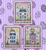 "Схема для вышивки Waxing Moon Designs ""Easter House Trio"""