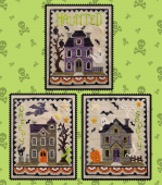 "Схема для вышивки Waxing Moon Designs ""Haunted House Trio"""