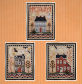 "Схема для вышивки Waxing Moon Designs ""Halloween House Trio"""