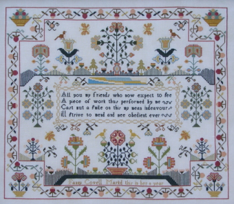 "Схема для вышивки Queenstown Sampler Designs ""Fanny Covell  c.1790"""