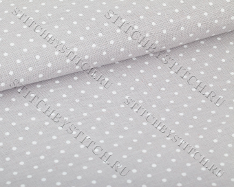 Канва 32 ct. Belfast Petit Point 3609/7349 (серый в белый горошек) Gray linen/white dots